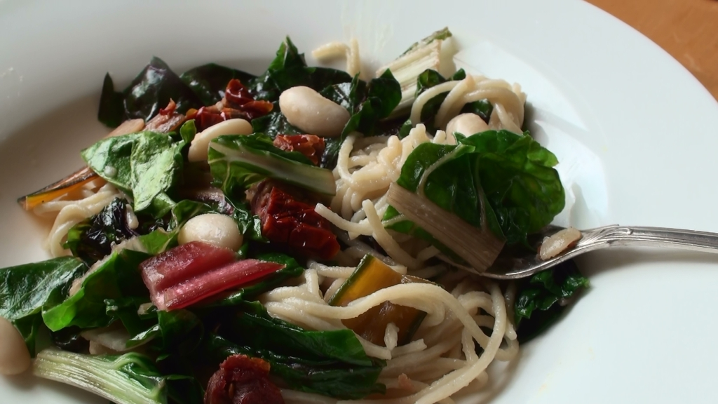 Rainbow chard, bean with pasta